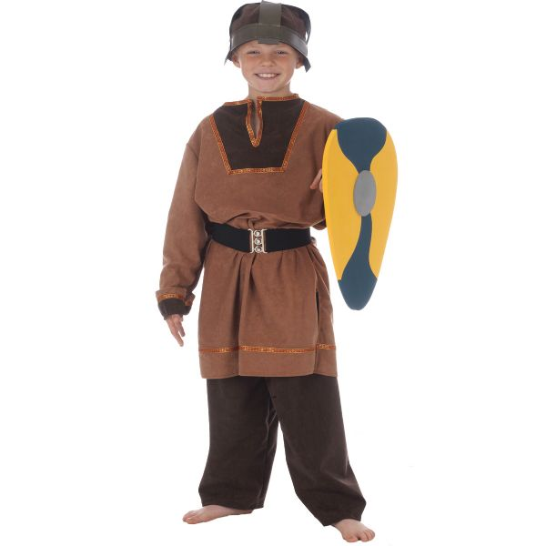 Children's Boys Anglo Saxon Viking Warrior Fancy Dress Up Costume